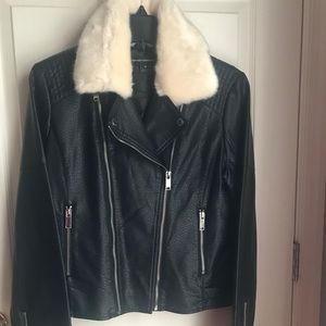 French Connection Leather Jacket w/ Faux Fur Trim